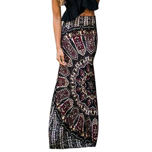 Mysky - Falda Larga de Verano para Mujer, diseño Tribal de Estilo ...