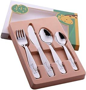 1lot/4 piece Kids Cutlery Set 18/10(304) Stainless Steel Cartoon Lovely Knife Fork Dinner Sets Children Flat ware Tableware Set,4pcs wiht box