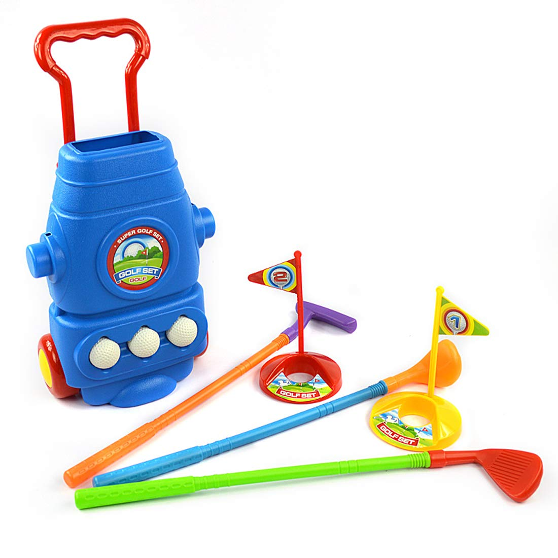 Chi Mercantile Complete Kiddie Golf Pro Toy Set with Bag on Wheels, Clubs, Balls and Practice Holes by Chi Mercantile