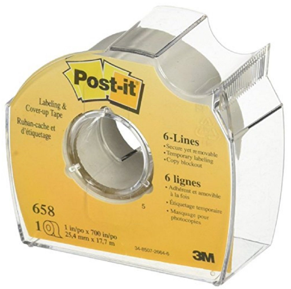 """Post-it : Removable Cover-Up Tape, Non-Refillable, 1"""" x 700"""" roll -:- Sold as 4 Packs of - 1 - / - Total of 4 Each"""