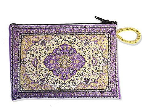 (Religious Gifts Purple Case Tapestry Rosary Coin Case Pouch Purse Keepsake Holder 5 1/2 Inch Width)