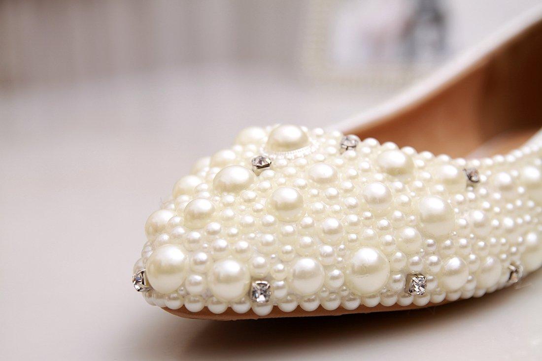 Minishion MZLL030 Women's Fashion Comfortable Handmade Pearl Ivory Satin Wedding Party Evening Prom Flats 7.5 M US by Minishion (Image #3)