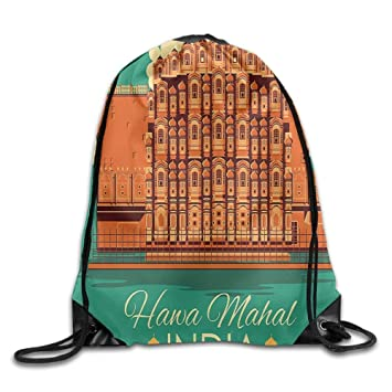 DHNKW Vintage Poster of Famous Monument Hawa Mahal Drawstring Gym ...