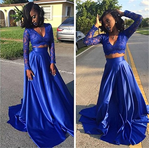 2 Blue Dresses Prom 2018 Prom Long V Piece Sleeves Dress Royal CCBubble Neck Bqxd7B