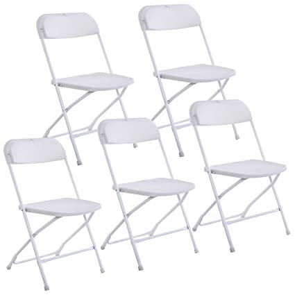Giantex Set Of 5 Plastic Folding Chairs Wedding Party Event Chair  Commercial (White Style 2