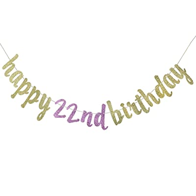 Happy 22nd Birthday Banner for 22nd Birthday Party Decorations (Gold & Pink): Toys & Games