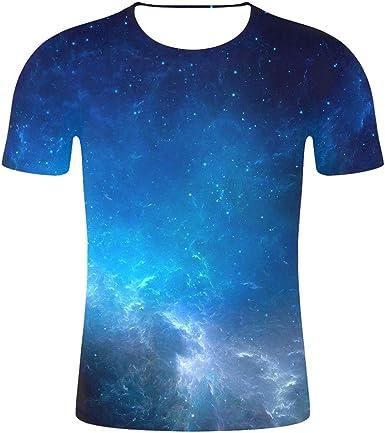 Mens 3D Print Hipster - Camisa de Manga Corta para Hombre Azul L: Amazon.es: Ropa y accesorios