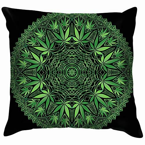 Intricate Funky Cannabis Theme Mandala Hand Healthcare Medical Throw Pillows Covers Accent Home Sofa Cushion Cover Pillowcase Gift Decorative 24X24 ()
