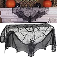 Euone  Halloween, Black Spiderweb Fireplace Mantle Scarf Cover Tablecloth Halloween Party Decor