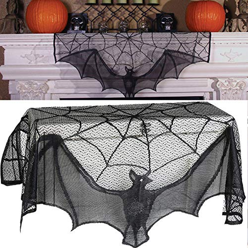 Euone  Halloween, Black Spiderweb Fireplace Mantle Scarf Cover Tablecloth Halloween Party Decor -