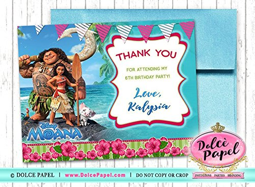 10 Disney Princess Elegant MOANA Thank You Cards 4.25x5.5]()