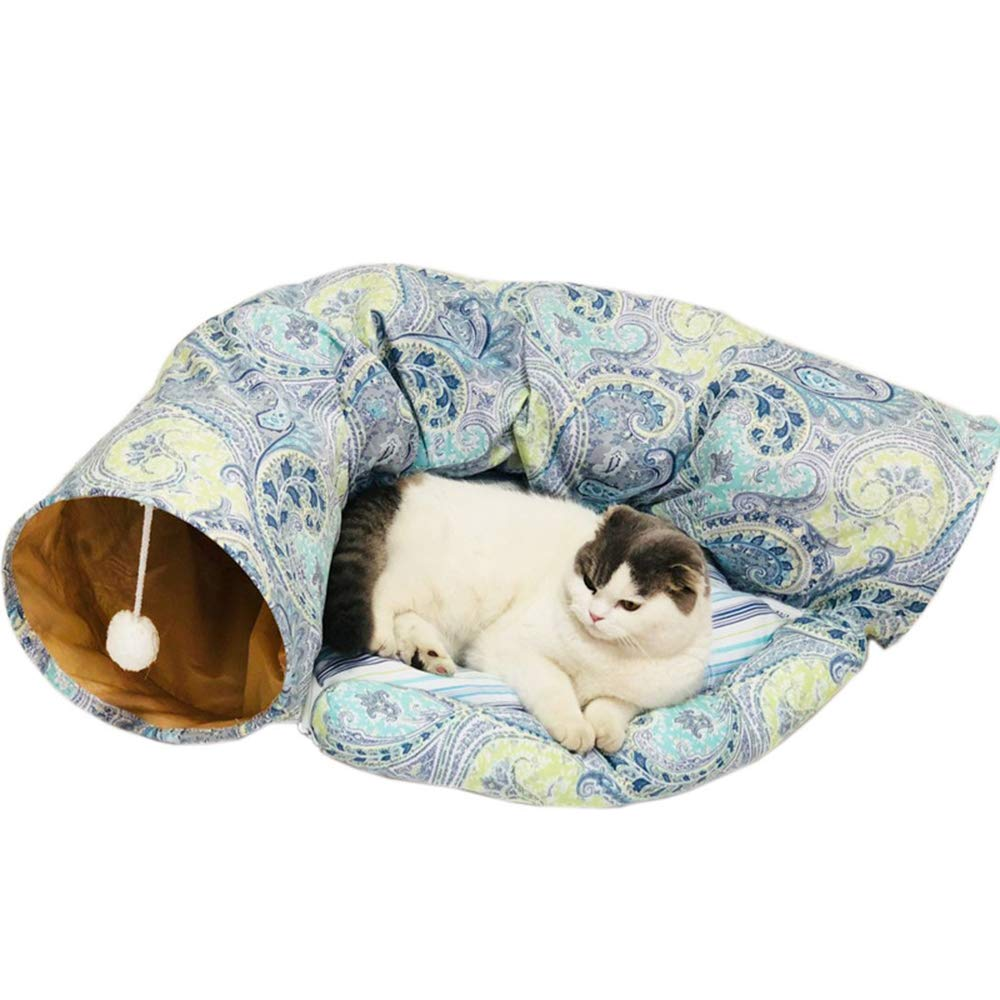 2 Pet Tunnel,Foldable Short Plush Cat Tunnel Tubes,Cat Nest Toy with Mat 72  52CM,4