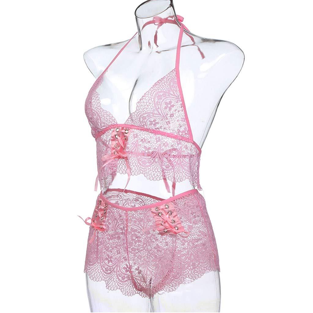 336a31ebb8b0 Amazon.com: Women's Sexy Pink Lace Lingerie Bow Bandage Perspective Bra Set  Babydoll Underwear Sleepwear: Clothing