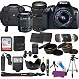 Canon EOS Rebel T6 DSLR Camera with EF-S 18-55mm f/3.5-5.6 IS II Lens, EF 75-300mm f/4-5.6 III Lens, W/ 32 GB Sandisk Memory Card, 50 Inch tripod, and Deluxe Holiday Bundle