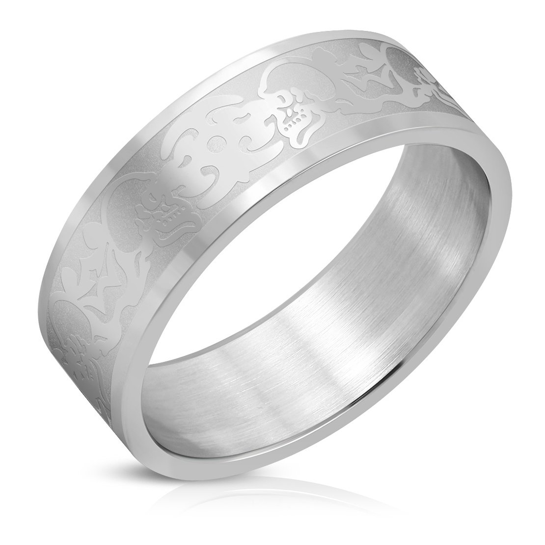 Stainless Steel Matte Finished Tribal Skull Flat Band Ring