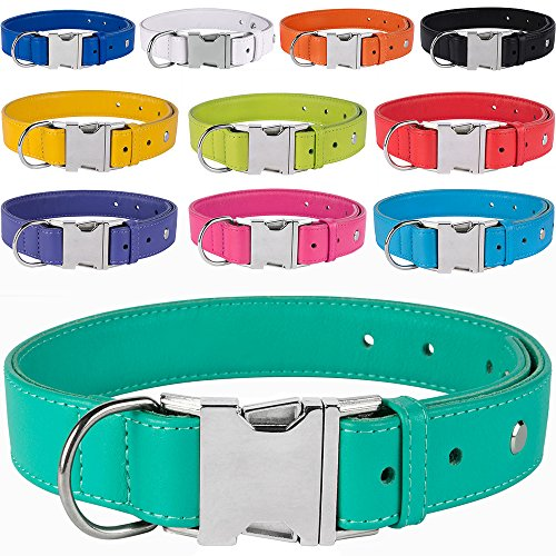 CollarDirect Leather Dog Collar, Metal Buckle Soft Genuine Colorful Pet Collars for Dogs Puppy Small Medium Large Black Red Pink Blue Green Orange (Neck Fit 10
