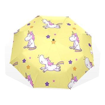 EZIOLY Paraguas de Viaje con Estrellas arcoíris de Unicornio, Ligero, Anti Rayos UV,