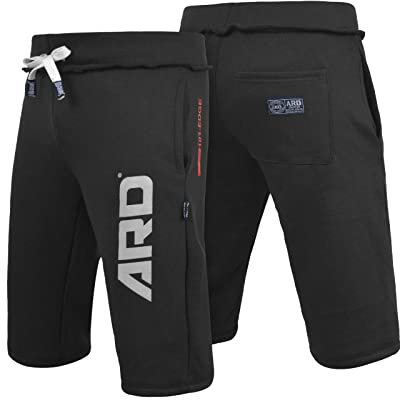 ARD CHAMPS Mens Cotton Fleece Shorts Jogging Casual Home Wear MMA Boxing MMA Jogger (S-XXL) (Black, X-Large): Clothing