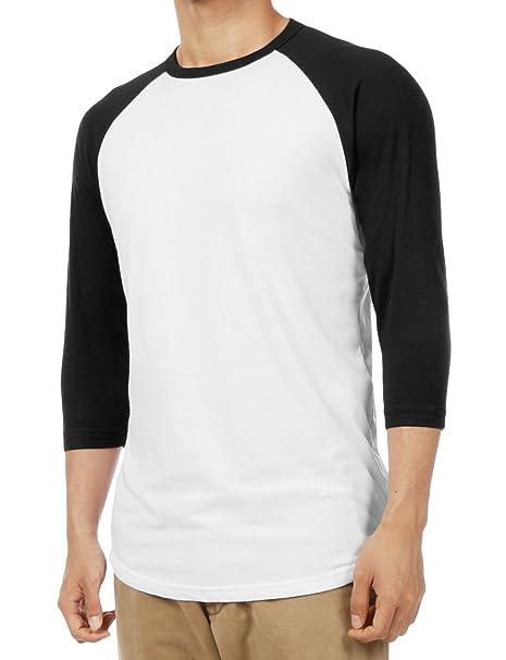 bddad21ee63 LE3NO Mens Casual Slim Fit 3 4 Sleeve Raglan Baseball T Shirt ...