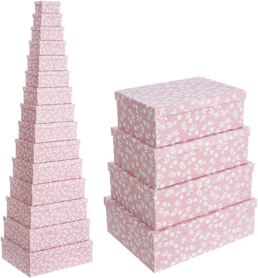 Set de 15 Cajas de cartón y Papel de Flores Rosa Shabby Chic - LOLAhome: Amazon.es: Hogar