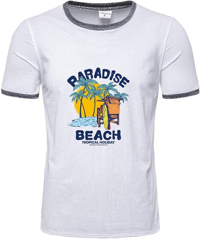 beautyjourney Camiseta de algodón para Hombre Camisa básica de ...