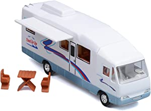 HAPTIME 7.6 inch Cool Mini Motorhome Toy Die-cast Pullback Recreational Vehicle Pull Back RV with DIY Furnitures Holiday Camper Van Model for Kids Children Gift (White)