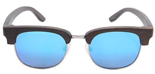 SHINU Klassische Clubmaster Sonnenbrille Holz Square Frame Holz Glasses Polarisierte UV400- Z6089 GcmxkuG