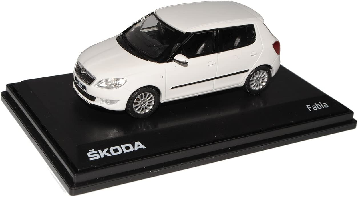 Skoda Fabia II 5 Türer Candy Weiss Ab Facelift 2010 143AB023E 1//43 Abrex Modell