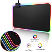 RGB Gaming Alfombrilla para Ratón,Manba RGB Gaming Mouse Pad LED, 350x250x3mm efectos de iluminación LED