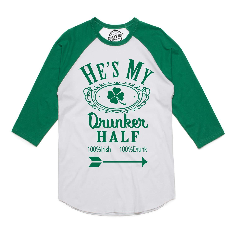61372b0618 Amazon.com: Womens Hes My Drunker Half Funny Couples Drinking Raglan Shirt:  Clothing