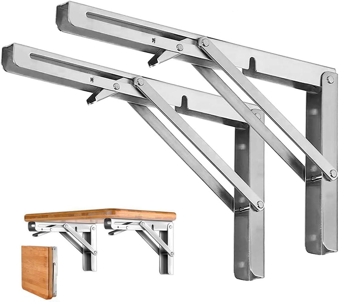 Folding Shelf Brackets Heavy Duty Metal Collapsible Shelf Bracket for Bench lb