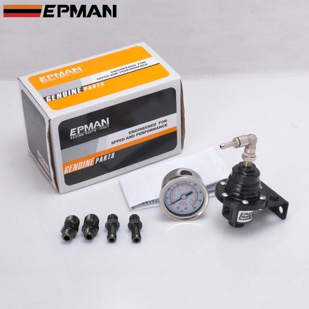 Universal 140PSI JDM Adjustable Fuel Pressure Regulator FPR With PSI Gauge Blue