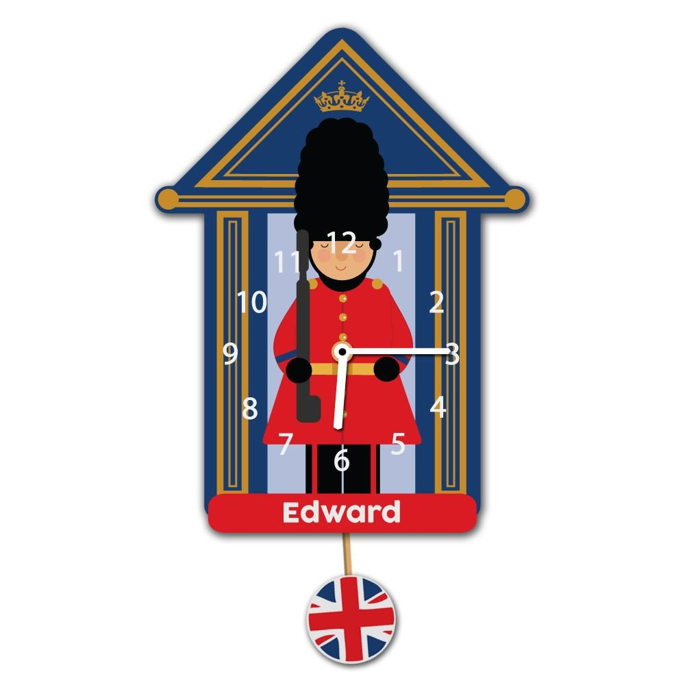 Soldier Childrens Personalised Silent Tick Wall Clock Queens Guard Kids Gift