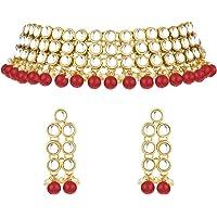 Teekit Parure de mari/ée avec Collier et Boucles doreilles pour Femme Motif Fleurs en Cristal S Rouge