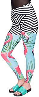 MAYUAN520 Las Mujeres Polaina Polainas de impresión de Hojas de Palmera Acogedor Slim Pantalón Mujer de Cintura Alta