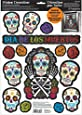 """Amscan Day of The Dead Halloween Party Assorted Glittered Sugar Skull Window Decoration, Multicolor, 17 1/2"""" x 12"""""""