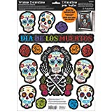 Amscan Day of The Dead Halloween Party Assorted Glittered Sugar Skull Window Decoration, Multicolor, 17 1/2'' x 12''