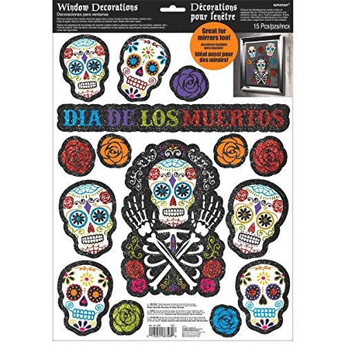 Day Of The Dead Party Decor (Amscan Day of The Dead Halloween Party Assorted Glittered Sugar Skull Window Decoration, Multicolor, 17 1/2