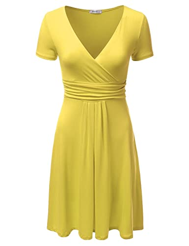 NINEXIS Women's V-Neck Surplice Midi Short Sleeve Dress (S-3XL)