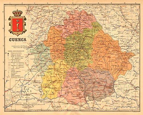 Mapa Provincia De Cuenca.Amazon Com Cuenca Castilla La Mancha Mapa Antiguo De La Provincia Alberto Martin C1911 Old Map Antique Map Vintage Map Printed Maps Of Spain Home Kitchen
