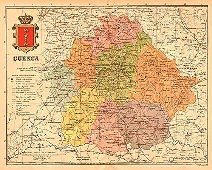 Cuenca. Castilla-La Mancha. Mapa Antiguo de la Provincia. Alberto Martin – C1911 – Old Antiguo Mapa Vintage – Mapas de Impreso de España: Amazon.es: Hogar