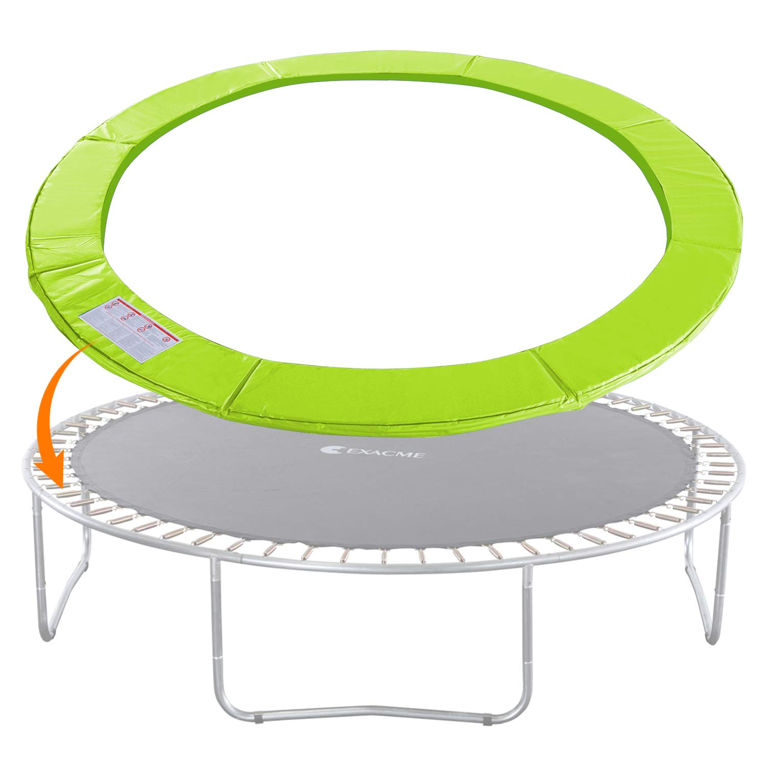 Exacme Trampoline Replacement Safety Pad Round Spring Cover, No Slots (Light Green, 15 Foot) by Exacme