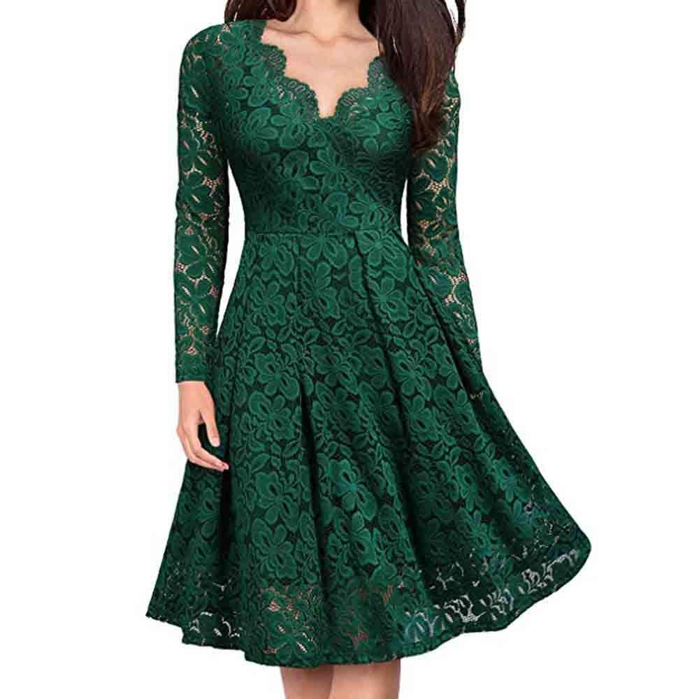 Vibola Women V-Neck Off Shoulder Lace Formal Evening Party Dress ...