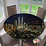 PINAFORE HOME Round Table Tablecloth Kuala Lumpur Petronas Twin Tower dur Blue Hour for Wedding Restaurant Party 40''-43.5'' Round (Elastic Edge)