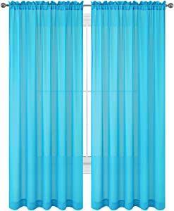 "Drape/Panels/Scarves/Treatment Beautiful Sheer Voile Window Elegance Curtains Scarf for Bedroom & Kitchen Fully Stitched and Hemmed, Set of 2 Turquoise Blue (Turquoise, 84"" Inch Long)"