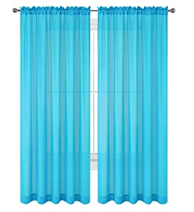 """WPM WORLD PRODUCTS MART Drape/Panels/Treatment Beautiful Sheer Voile Window Elegance Curtains for Bedroom & Kitchen, 57"""" inch x 84"""" inch, Set of 2 (Turquoise)"""