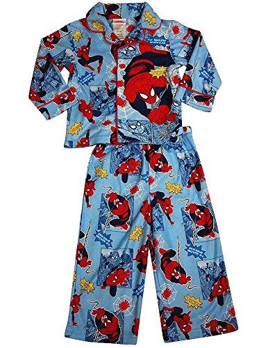 Spiderman - Little Boys Long Sleeve Spiderman Pajamas, Light Blue 36257-4T