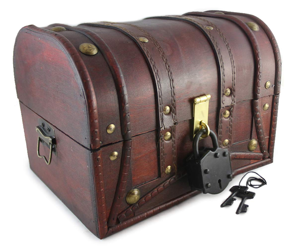 Wooden Trunk Chest Plus Large Lock & Key Leather Straps Decorative Treasure Antique Vintage Style Stash Box Old Fashioned By Well Pack Box