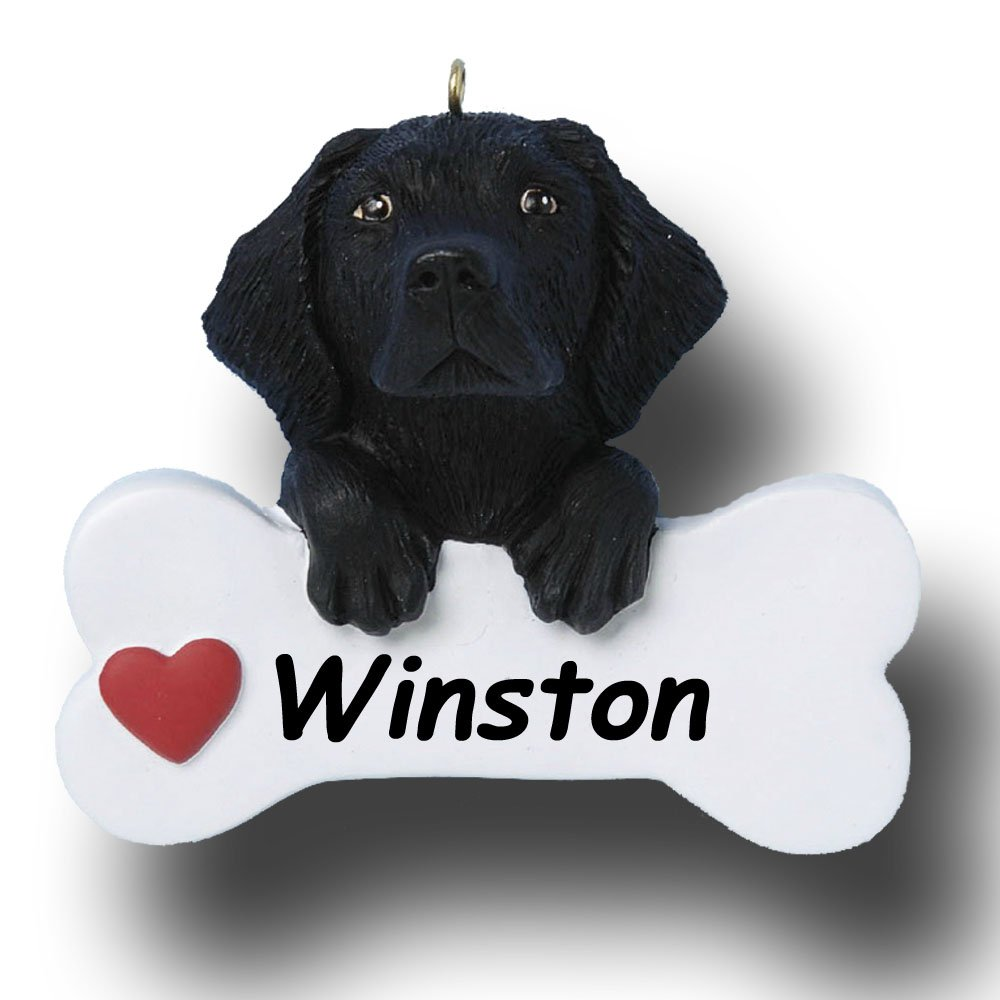 9b394f8163bc1 Amazon.com  Personalized Black Lab Labrador Retriever Dog Breed and Dog  Bone with Red Heart Detail Hanging Christmas Tree Ornament with Custom Name  - 3 ...