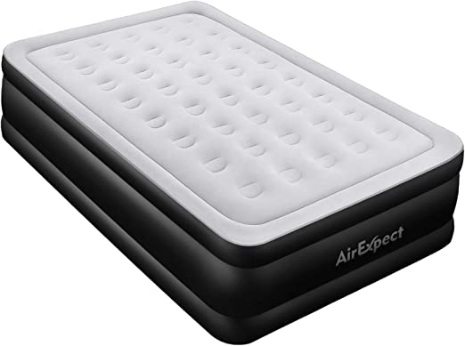 Queen Air Mattress with Built-in Pump - AirExpect Upgraded 0.7mm Thickness Leak Proof Inflatable Mattress Double High Elevated Airbed Blow up Bed for ...